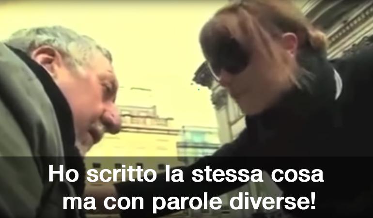 """Angeli: """"Ho scritto la stessa cosa ma con parole diverse!"""" Questo dice l'angelo del video per aumentare le donazioni dei passanti."""